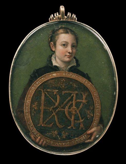 """Sofonisba Anguissola (ca. 1530, Cremona - 1625, Palermo), """"Autoritratto"""" / """"Self-Portrait"""", ca. 1556, Miniatura / Miniatures, Olio su pergamena / Oil on parchment, 8.3 x 6.4 cm, Museum of Fine Arts, Boston"""