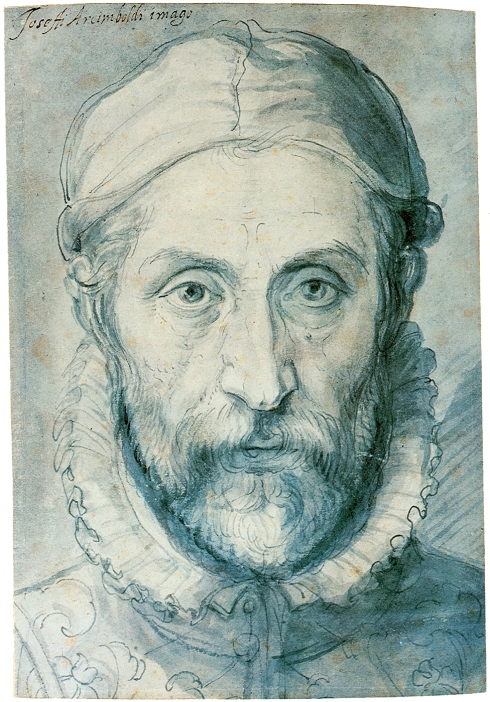 "Giuseppe Arcimboldo (ca. 1530, Milano - 1593, Milano), ""Autoritratto"" / ""Self-Portrait"", ca. 1575, Olio su tela / Oil on canvas, Penna e matita blu su carta / Pen and blue pencil on paper, 23 x 15.7 cm, Narodni Galerie, Prague"
