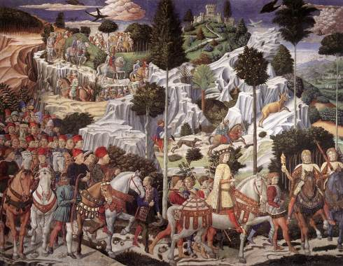 "Benozzo Gozzoli (ca. 1420, Firenze - 1497, Pistoia), ""Corteo dei Magi - Corteo del giovane Re"" (parete ad est) / ""Procession of the Magi - Procession of the Young King"" (east wall), 1459-60, Affresco / Fresco, Cappella / Chapel, Palazzo Medici-Riccardi, Firenze"
