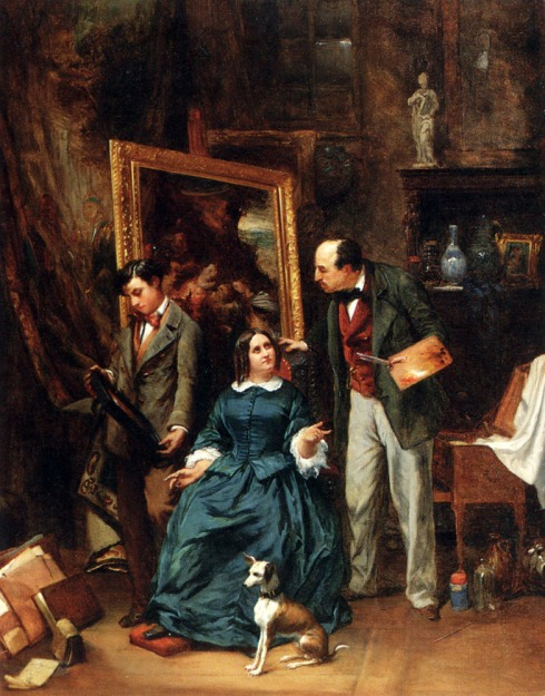 "Joseph Bernard (1866, Vienne, Isère -1933, Paris), ""L'Atelier dell'Artista"" / ""The Artists's Atelier"", 1887, Olio su tavola / Oil on panel, 81.3 x 63.5 cm, Collezione privata / Private Collection"