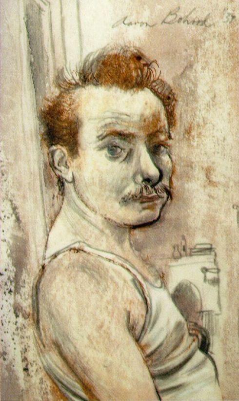 """Aaron Bohrod (1907, Chicago - 1992, Madison), """"Autoritratto"""" / """"Self-Portrait"""", 1937, Ink/pencil/wash, 5 x 8 1/2 inches, Collezione privata / Private Collection"""