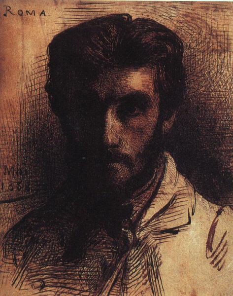 "Léon Bonnat (French, 1833, Bayonne - 1922, Monchy-Saint-Éloi), ""Autoritratto"" / ""Self-Portrait"", 1858, Pen, india ink, and wash on paper, Musée d'Orsay, Paris"