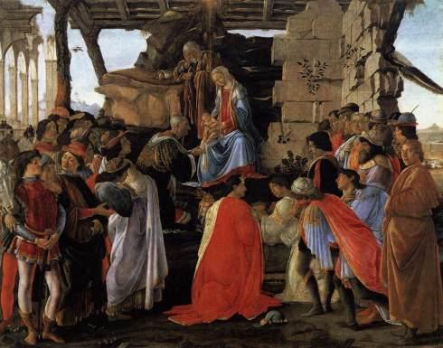 """Sandro Botticelli (1445, Firenze - 1510, Firenze), """"Adorazione dei Magi"""" / """"Adoration of the Magi"""", ca. 1475, Tempera on panel / Tempera on panel, 111 x 134 cm, Galleria degli Uffizi, Firenze"""