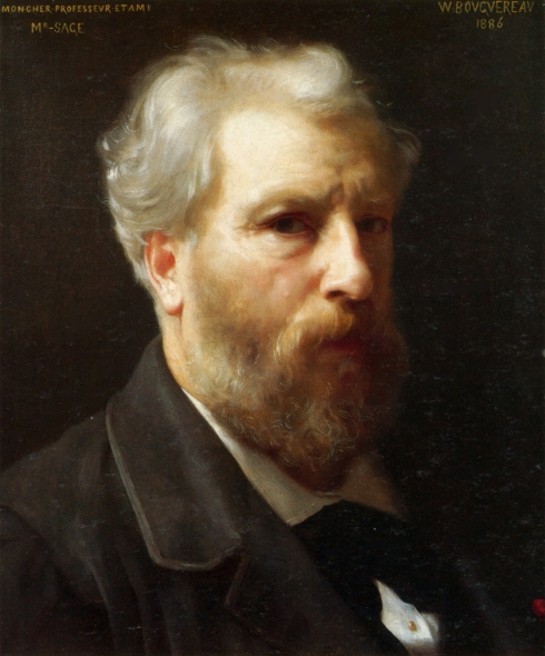 "Adolphe William Bouguereau (1825, La Rochelle - 1905, La Rochelle), ""Autoritratto presentato a M. Sage"" / ""Self-portrait presented to M. Sage"", 1886, Olio su tela / Oil on canvas, Collezione privata / Private collection"