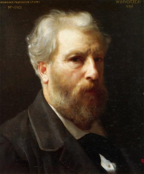 """Adolphe William Bouguereau (1825, La Rochelle - 1905, La Rochelle), """"Autoritratto presentato a M. Sage"""" / """"Self-portrait presented to M. Sage"""", 1886, Olio su tela / Oil on canvas, Collezione privata / Private collection"""