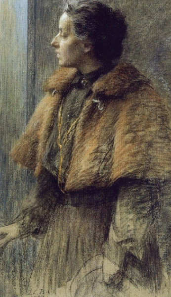 "Marie-Louise Breslau (1856, Munich - 1927, Neuilly-sur-Seine), ""Autoritratto"" / ""Self-Portrait"", XIX-XX secolo / Nineteenth-Twentieth Century, Olio su tela / Oil on canvas, Collezione privata / Private Collection"
