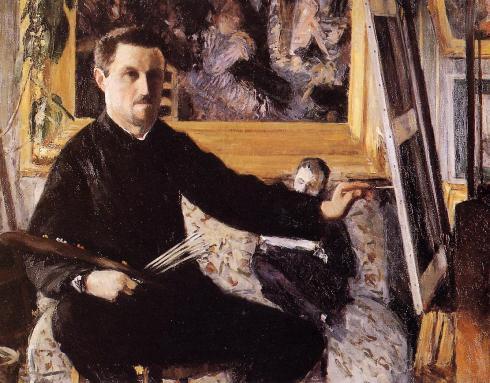 """Gustave Caillebotte (1848, Paris - 1894, Gennevilliers), """"Autoritratto al cavalletto"""" / """"Self Portrait with an Easel"""", ca. 1879-1880, Olio su tela / Oil on canvas, 90 x 115 cm, Collezione privata / Private Collection"""