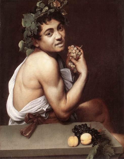 """Caravaggio (Michelangelo Merisi, 1571, Milano - 1610, Porto Ercole), """"Bacchino malato / Autoritratto"""" / """"Sick Bacchus / Self-Portrait"""", ca. 1593, Olio su tela / Oil on canvas, 67 x 53 cm, Galleria Borghese, Roma"""