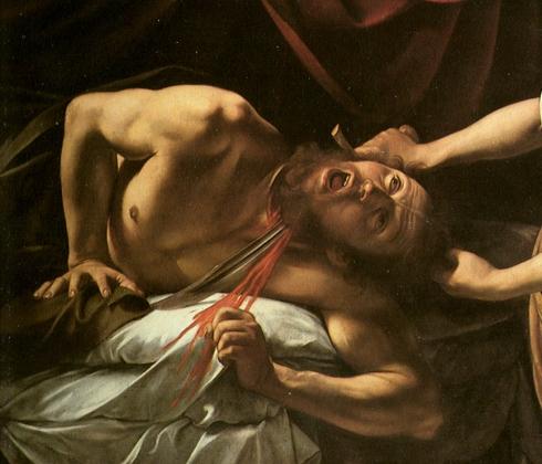 """Caravaggio, """"Autoritratto"""" / """"Self Portrait"""" in """"Giuditta decapita Oloferne"""" / """"Judith Beheading Holofernes"""""""