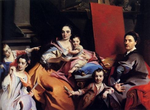 """Carlo Innocenzo Carloni (Lanzo d'Intelvi, 1687 - 1775, Scaria), """"Autoritratto con la famiglia"""" / """"Self-Portrait With The Family"""", 1728, Olio su tela / Oil on canvas, Collezione privata / Private Collection"""