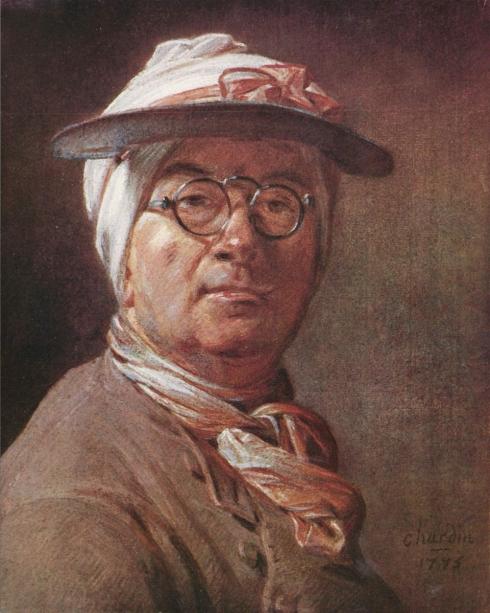 "Jean-Baptiste-Simeon Chardin (1699, Paris - 1779, Paris), ""Autoritratto con gli occhiali"" / ""Self-Portrait with Eyeshade"", 1775, Pastello su carta / Pastel on Paper, 46 x 38 cm, Musée du Louvre, Paris"