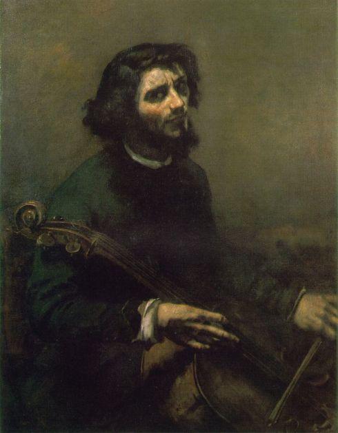 """Jean-Désiré-Gustave Courbet (1819, Ornans - 1877, La Tour-de-Peilz), """"Il Violoncellista . Autoritratto"""" / """"The Cellist, Self-Portrait"""", 1847, Olio su tela / Oil on canvas, 117 x 90 cm, Nationalmuseum, Stockholm"""