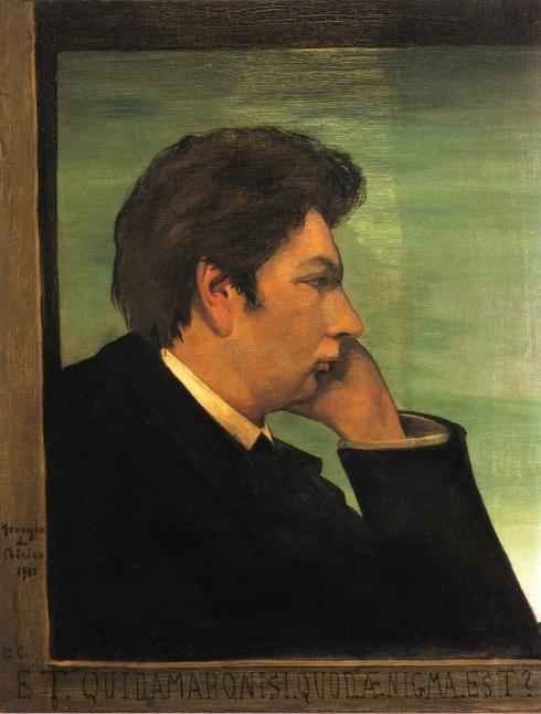"""Giorgio de Chirico (Volos, 1888 - 1978, Roma), """"Et quid amabo nisi quod enigma est?"""" (""""Autoritratto"""" / """"Self Portrait""""), 1908, Olio su tela / Oil on canvas, 70.49 cm x 54.61 cm, Collezione private / Private Collection"""