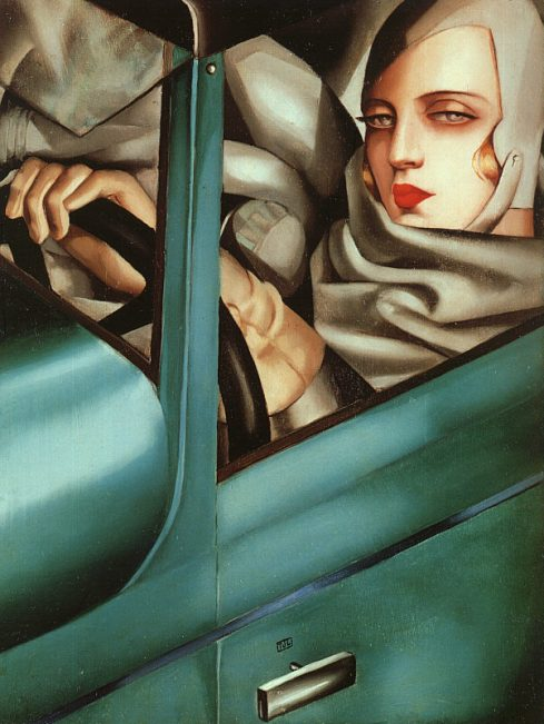 "Tamara de Lempicka (Maria Górska, 1898, Warsaw - 1980, Cuernavaca), ""Autoritratto sulla Bugatti verde"" / ""Self-Portrait in the Green Bugatti"", 1925, Olio su tavola / Oil on wood, Collezione privata / Private Collection"