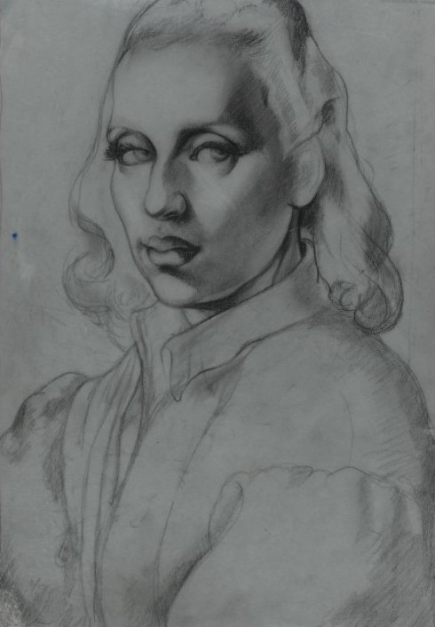 "Tamara de Lempicka (Maria Górska, 1898, Warsaw - 1980, Cuernavaca), ""Autoritratto"" / ""Self-Portrait"", ca. 1941, Carboncino e matita su carta trasparente per ricalco, charcoal and pencil on tracing paper, 37 x 28 cm, Collezione privata / Private Collection"