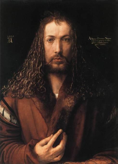 "Albrecht Dürer (1471, Nürnberg - 1528, Nürnberg), ""Autoritratto con un collo di pelliccia"" / ""Self-Portrait in a Fur-Collared Robe"", 1500, Olio su tavola / Oil on lime panel, 67.1 x 48.7 cm, Alte Pinakothek, Munich"