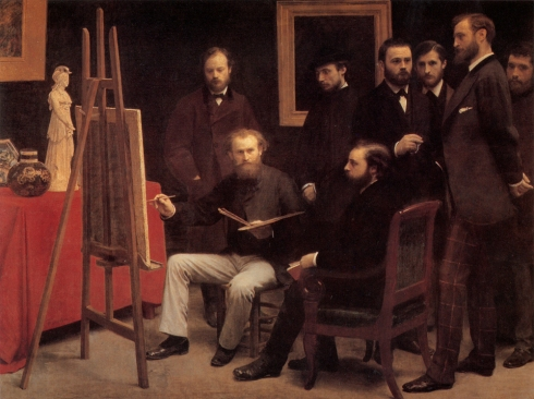 """Ignace Henri Fantin-Latour (1836, Grenoble -1904, Buré), """"Un Atelier nel Batignolles"""" / """"An Atelier in the Batignolles"""", 1870, Olio su tela / Oil on canvas, 204 x 273.5 cm, Musée d'Orsay, Paris"""