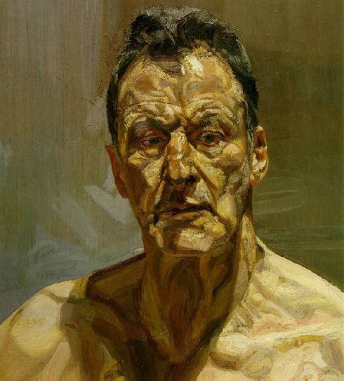 "Lucian Freud (1922, Berlino - ), ""Riflessione/Autoritratto"" / ""Reflection/Self-Portrait"", 1985, Olio su tela / Oil on canvas, 56.2 x 51.2 cm, Collezione private / Private collection"