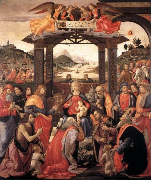 """Domenico Ghirlandaio (Domenico di Tommaso Bigordi, 1449, Firenze - 1494, Firenze), """"Adorazione dei Magi"""" / """"Adoration of the Magi"""",1488, Tempera su tavola / Tempera on wood, 285 x 240 cm, Spedale degli Innocenti, Firenze"""
