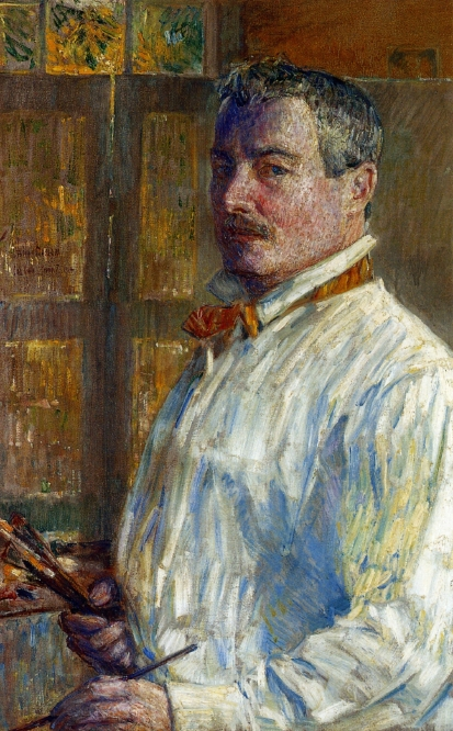 "Frederick Childe Hassam (1859, Dorchester, Mass. - 1935, East Hampton, New York), ""Autoritratto"" / ""Self-Portrait"", 1914, Olio su tela / Oil on canvas, 83.5 x 52.71 cm, American Academy of Arts and Letters, New York"
