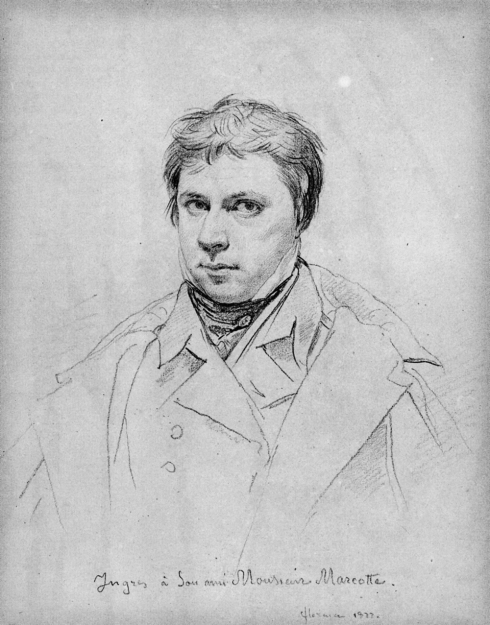 "Jean-Auguste-Dominique Ingres (1780, Montauban - 1867, Paris), 1822, ""Autoritratto"" / ""Self-Portrait"", Disegno / Drawing, Collezione privata / Private Collection"