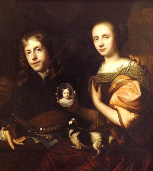 "Jan de Baen (1633, Haarlem 1702, Den Haag), ""Autoritratto con la moglie Maria de Kinderen (e la loro figlia)"" / ""Self-Portrait with His Wife, Maria de Kinderen (and their daughter)"", 1674, Olio su tela / Oil on canvas, 101 x 93 cm, Museum Bredius, The Hague"