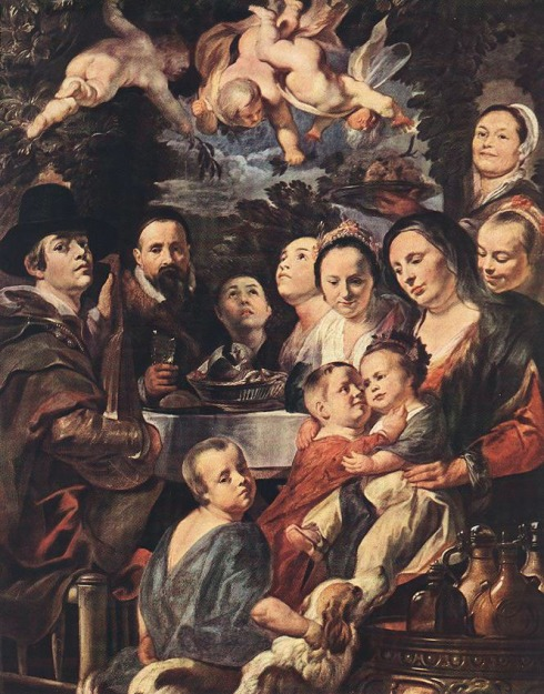 "Jacob Jordaens (1593, Antwerpen - 1678, Antwerpen), ""Autoritratto con i genitori, i fratelli e le sorelle"" / ""Self Portrait among Parents, Brothers and Sisters"", ca.1615, Olio su tela / Oil on canvas, 178 x 138 cm, The Hermitage, St Petersburg"