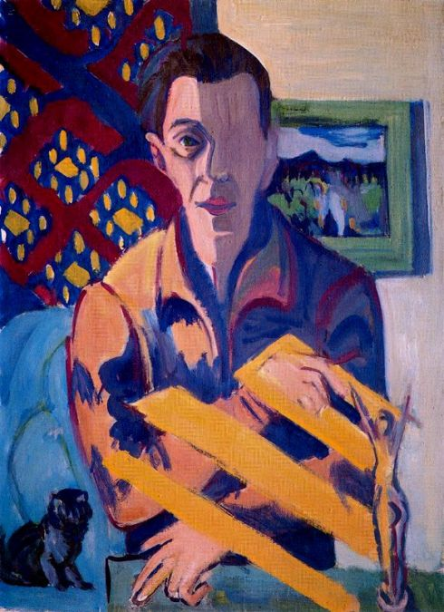 "Ernst Ludwig Kirchner (1880, Aschaffenburg - 1938, Davos), ""Autoritratto malato"" / ""Self-portrait"", 1931, Olio su tela / Oil on canvas, 84 x 61 cm, Bündner Kunstmuseum, Coira, Svizzera / Switzerland"
