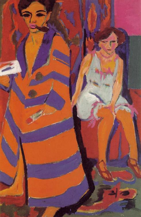 "Ernst Ludwig Kirchner (1880, Aschaffenburg - 1938, Davos), ""Autoritratto con una modella"" / ""Self-Portrait with Model"", 1910/1926, Olio su tela / Oil on canvas, 150.4 x 100 cm, Kunsthalle, Hamburg"