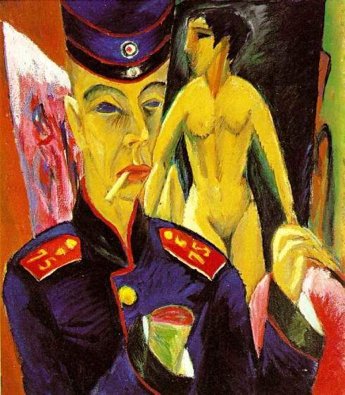 """Ernst Ludwig Kirchner (1880, Aschaffenburg - 1938, Davos), """"Autoritratto da soldato"""
