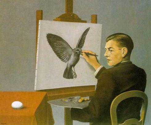 "René François-Ghislain Magritte (1898, Lessines, Hainaut (Belgium) - 1967, Bruxelles), ""Clairvoyance"" (Autoritratto) / (Self-Portrait), 1936, Olio su tela / Oil on canvas, Galerie Isy Brachot, Brussels"
