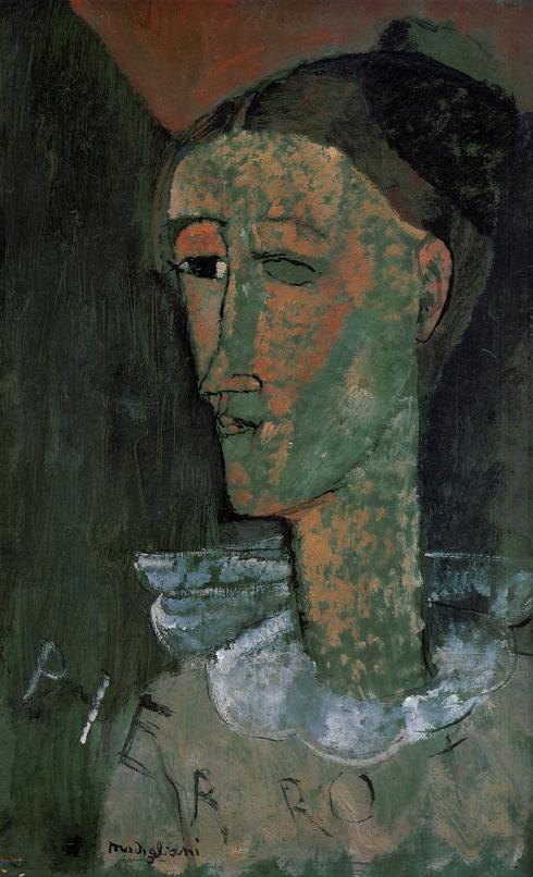 "Amedeo Modigliani (1884, Livorno - 1920, Parigi), ""Pierrot"" (noto anche come ""Self Portrait nelle vesti di Pierrot"") / ""Pierrot"" (also known as ""Self Portrait as Pierrot""), 1915, Olio su cartone / Oil on cardboard, 43 x 27 cm, Statens Museum for Kunst, København"