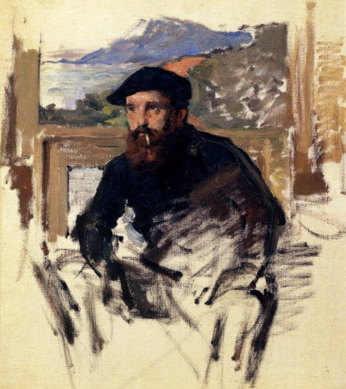 "Claude Monet (1840, Paris -1926, Givern), ""Autoritratto nel suo Atelier"" / ""Self Portrait in his Atelier"", XIX-XX secolo / Nineteenth-Twentieth Century, Olio su tela / Oil on canvas, Collezione privata / Private Collection"