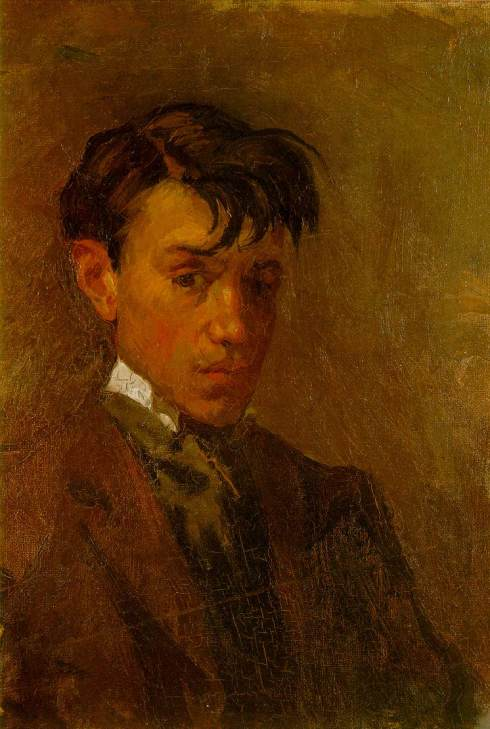 "Pablo Picasso (1881, Málaga - 1973, Mougins), ""Autoritratto con i capelli spettinati"" / ""Self Portrait with Uncombed Hair"", 1896, Olio su tela / Oil on canvas, 32.7 x 23.6 cm, Museu Picasso, Barcelona"
