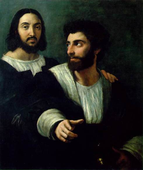 "Raffaello (Raffaello Sanzio, 1483, Urbino - 1520, Roma), ""Autoritratto con un amico"" / ""Self-Portrait with a Friend"", 1518-1519, Olio su tela / Oil on canvas, 99 x 83 cm, Musée du Louvre, Paris"