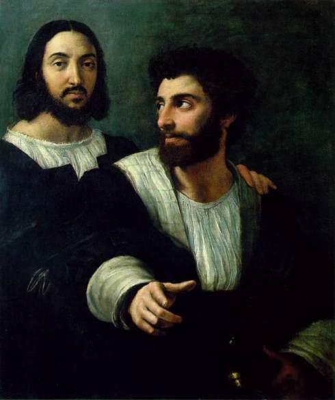 """Raffaello (Raffaello Sanzio, 1483, Urbino - 1520, Roma), """"Autoritratto con un amico"""" / """"Self-Portrait with a Friend"""", 1518-1519, Olio su tela / Oil on canvas, 99 x 83 cm, Musée du Louvre, Paris"""