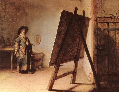 """Rembrandt Harmenszoon van Rijn (1606, Leiden - 1669, Amsterdam), """"L'Artista nel suo Studio"""" / """"The Artist in his Studio"""", 1626-28, Olio su tela / Oil on canvas, 25,5 x 32 cm, Museum of Fine Arts, Boston"""