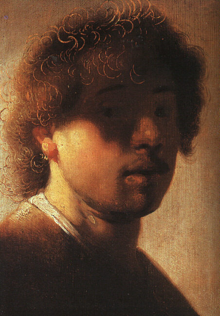 "Rembrandt Harmenszoon van Rijn (1606, Leiden - 1669, Amsterdam), ""Autoritratto"" / ""Self Portrait"", 1627, Olio su tavola / Oil on wood, 23,5 x 17 cm, Staatliche Museen, Kassel"