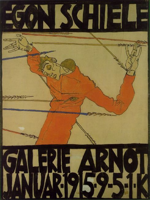 "Egon Schiele (1890, Tulln - 1918, Vienna), ""Autoritratto come San Sebastiano"" / ""Self-Portrait as St. Sebastian"" (Poster for Arnot Gallery exhibition), 1914/15, Inchiostri, Indian ink and opaque, 67 x 50 cm, Historisches Museum der Stadt Wien, Vienna"