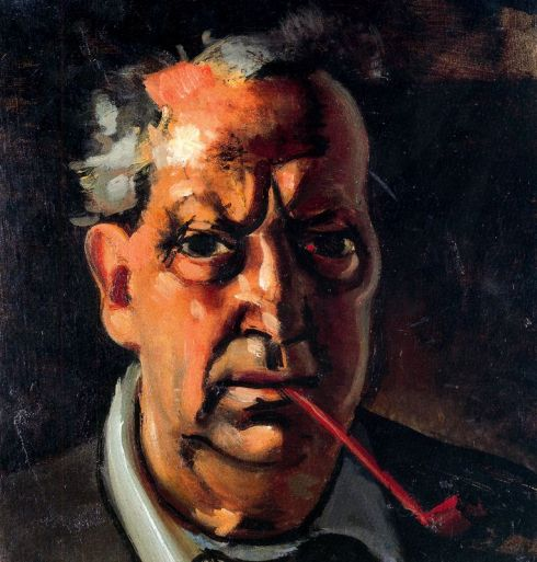 "André Louis Derain (1880, Chatou - 1954, Garches), ""Autoritratto con pipa"" / ""Self Portrait with a pipe"", 1953, Olio su tela / Oil on canvas, 35 x 33 cm, Collezione privata / Private Collection"
