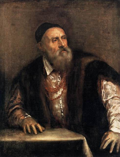 """Tiziano (Tiziano Vecellio, 1490, Pieve di Cadore - 1576, Venezia), """"Autoritratto"""" / """"Self-Portrait"""", ca. 1550-62, Olio su tela / Oil on canvas, Staatliche Museen, Berlin"""
