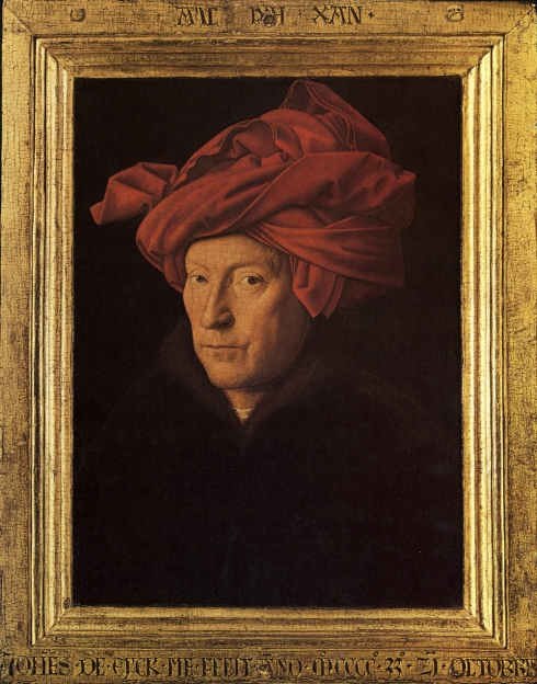 "Jan van Eyck (prima del / before 1395, Maaseik - 1441, Bruges), ""Uomo con il turban"" (probabile autoritratto) / ""A Man in a Turban"" (possibly a self-portrait), 1433, Olio su tavola / Oil on wood, 25,5 x 19 cm, National Gallery, London"