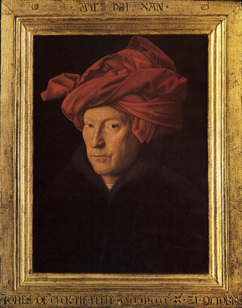 "Jan van Eyck (prima del / before 1395, Maaseik - 1441, Bruges), ""Uomo con il turban"" (probabile autoritratto) / ""A Man in a Turban"" (possibly a self-portrait), 1433, Olio su tavola / Oil on wood, 25,5 x 19 cm, National Gallery, London"