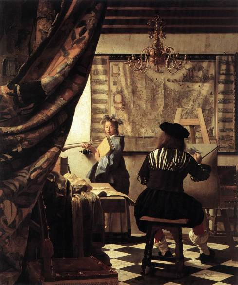 "Johannes Vermeer, (1632, Delft - 1675, Delft), ""Lo studio dell'Artista (L'Arte della Pittura)"" / ""The Artist's Studio (The Art of Painting)"", 1665-67, Olio su tela / Oil on canvas, 120 x 100 cm, Kunsthistorisches Museum, Vienna"