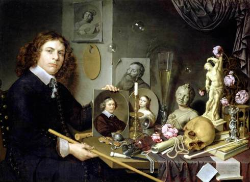 "David Bailly (1584, Leiden - 1657, Leiden), ""Autoritratto con I simboli della Vanità"" / ""Self-Portrait with Vanitas Symbols"", 1651, Olio su tavola / Oil on wood, 65 x 97,5 cm, Stedelijk Museum De Lakenhal, Leiden"