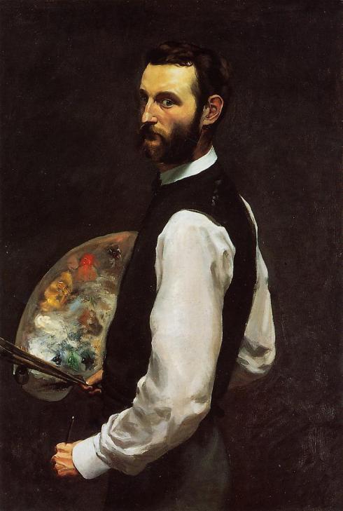 """Jean Frédéric Bazille (1841, Montpellier - 1870, Beaune-la-Rolande), """"Autoritratto con la tavolozza"""" / """"Self Portrait with Palette"""", 1865, The Art Institute of Chicago, Chicago"""