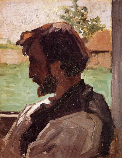 "Jean Frédéric Bazille (1841, Montpellier - 1870, Beaune-la-Rolande), ""Autoritratto a Saint-Sauveur"" / ""Self Portrait at Saint-Sauveur"", ca. 1867, Olio su tela / Oil on canvas, 40 x 31 cm, Musée d'Orsay, Paris"