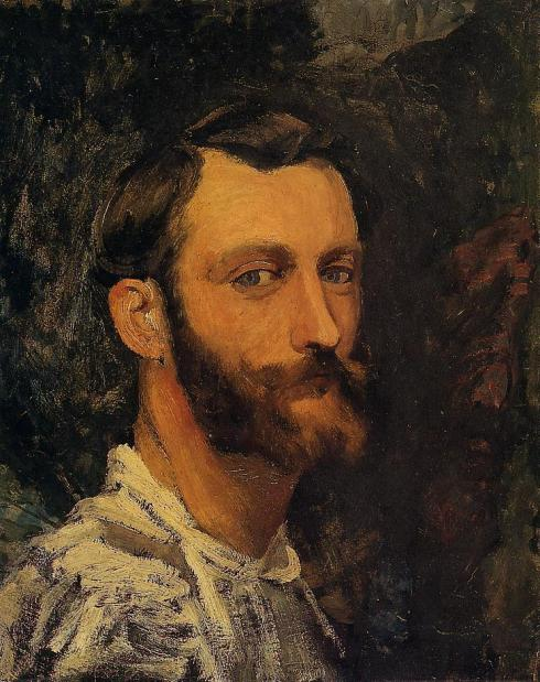 "Jean Frédéric Bazille (1841, Montpellier - 1870, Beaune-la-Rolande), ""Autoritratto"" / ""Self Portrait"", ca. 1870, Olio su tela / Oil on canvas, 46 x 38 cm, Collezione private / Private Collection"