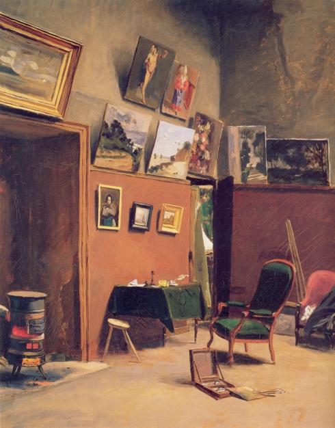 """Jean Frédéric Bazille (1841, Montpellier - 1870, Beaune-la-Rolande), """"L'Atelier di Rue de Furstenberg"""" / """"The Studio on the Rue de Furstenberg"""", 1865, Olio su tela / Oil on canvas, 80 x 65 cm, Musée Fabre, Montpellier"""