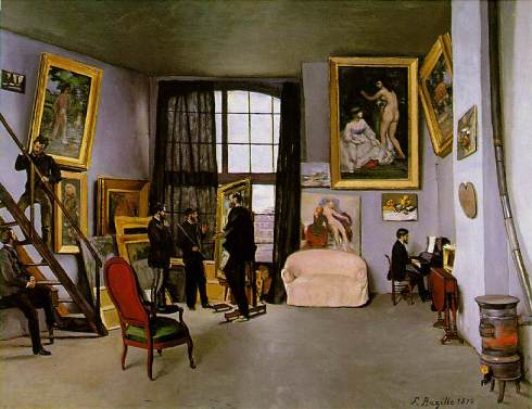 "Jean Frédéric Bazille (1841, Montpellier - 1870, Beaune-la-Rolande), ""L'Atelier di Rue La Condamine"" / ""The Studio on the Rue La Condamine"", Olio su tela / Oil on canvas, 1870, 98 x 128.5 cm, Musée d'Orsay, Paris"